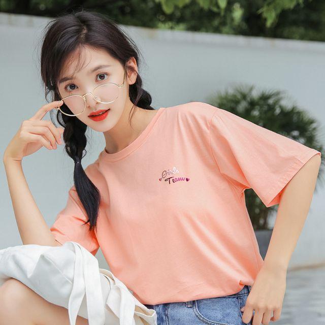视频夏天薄款纯色亮面爱心字母图打底宽松上衣短袖圆领T恤女