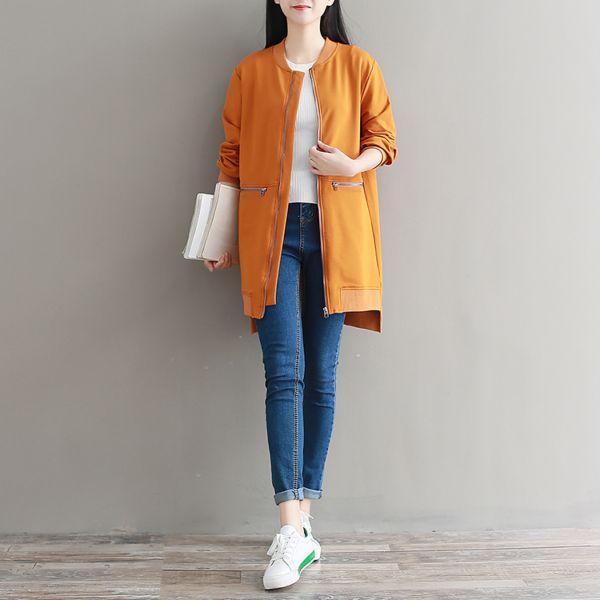 秋冬新款长袖圆领女中长款宽松休闲运动韩式棒球服外套口袋