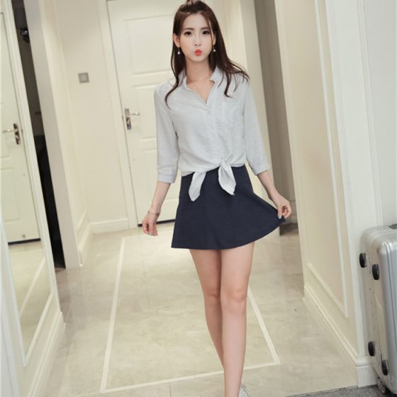 现货1115#学院宽松V领七分袖条纹衬衫+A字半身裙短裙流行套装