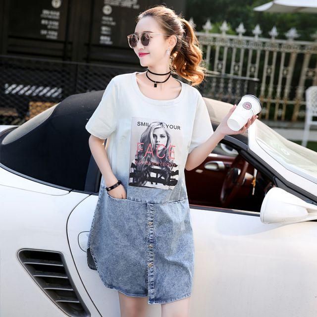 夏款新款女装韩式字母印花牛仔短袖连衣裙宽松拼接不规则裙