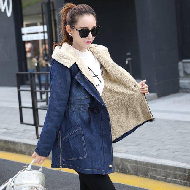 冬季服装韩式宽松大码羊羔毛牛仔外套女中长款加绒加厚棉衣