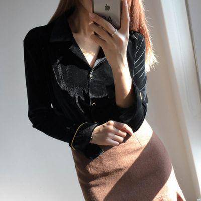秋冬韩国chic超美性感V领质感复古绿金丝绒衬衫女长袖衬衣