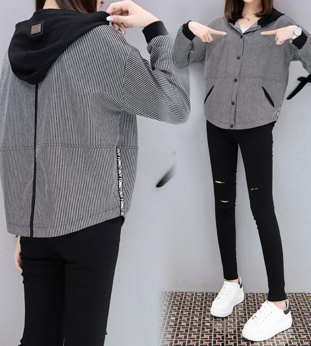 欧洲站最新秋装长袖连帽短外套女宽松潮夹克条纹棒球服