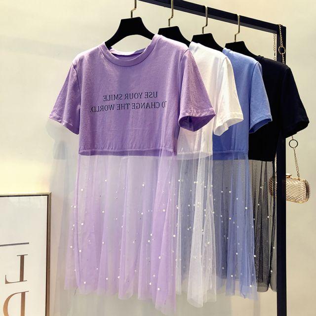 珍珠网纱拼接圆领短袖字母T恤中长款露脐透视学生女春夏上衣打底