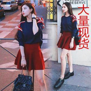 最新秋天新款女装韩式网红同款小香风针织套头上衣短裙两件套
