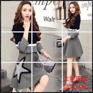 最新秋装新款韩国流行风韵毛衣套装裙女两件套针织韩式连衣裙秋潮