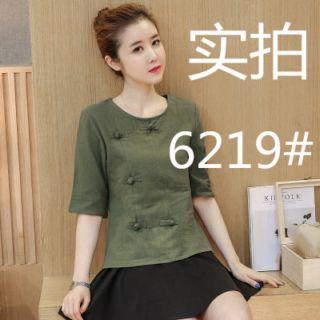 最新年春夏天新款棉麻女装衬衫五分袖亚麻宽松民族风T恤