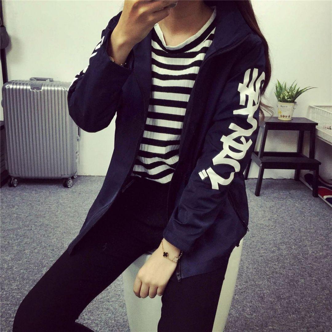 秋天新款韩式女装宽松BF原宿风连帽学生风衣短外套冲锋衣