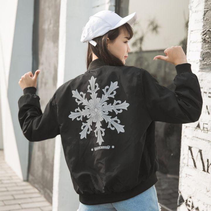 韩式随意搭配宽松学生bf风短外套印花薄棒球服夹克衫潮