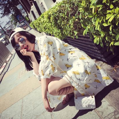 韩式中长款宽松衬衣搞怪童趣印花衬衫防晒衣