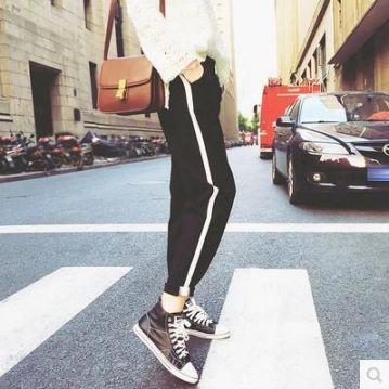 宽松白边运动裤女九分裤显瘦哈伦裤学生小脚裤春天萝卜裤