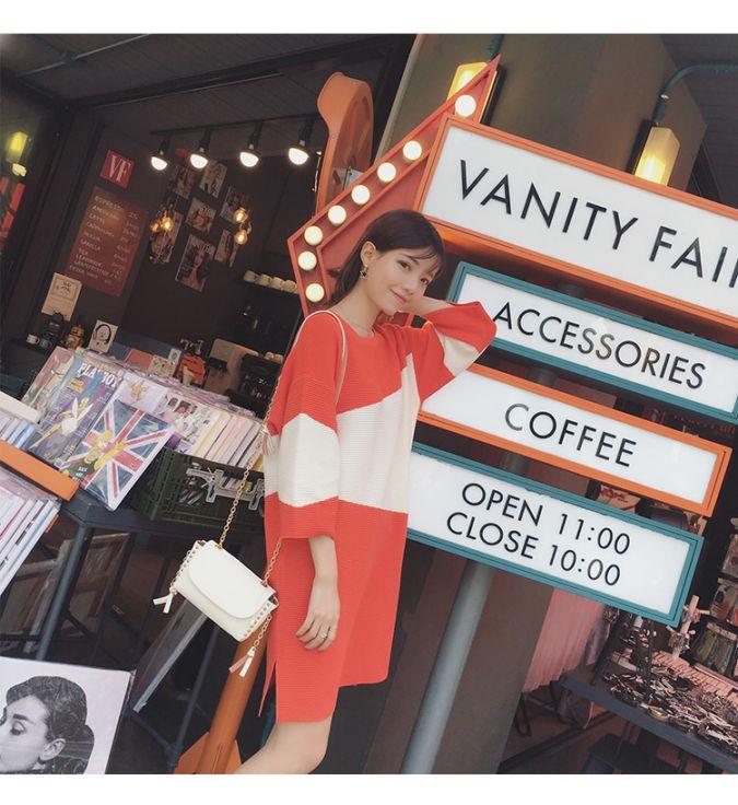 秋装新款韩式七分袖连衣裙圆领撞色薄针织衫宽松中长款t恤