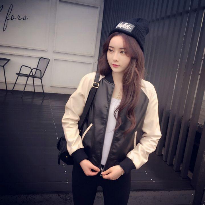 韩式撞色拼接机车皮衣女式夹克短外套潮