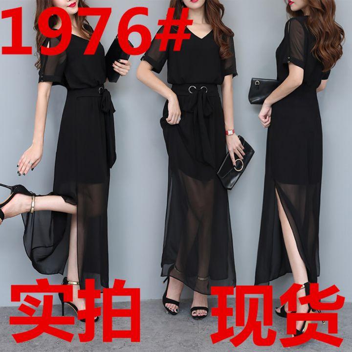名媛最新款女装夏塑身收腰长款连衣裙女黑色雪纺短袖裙v领长裙
