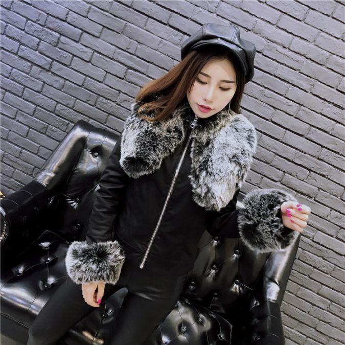 +视频秋冬皮夹克外套皮衣可拆卸防狐狸毛领袖口上衣