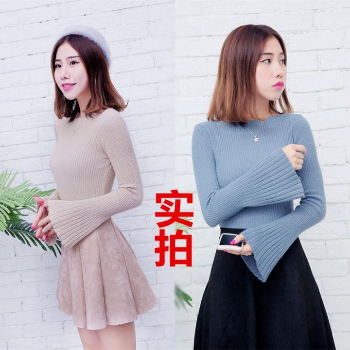 +视频秋冬韩式随意搭配针织衫塑身喇叭袖短款毛衣女
