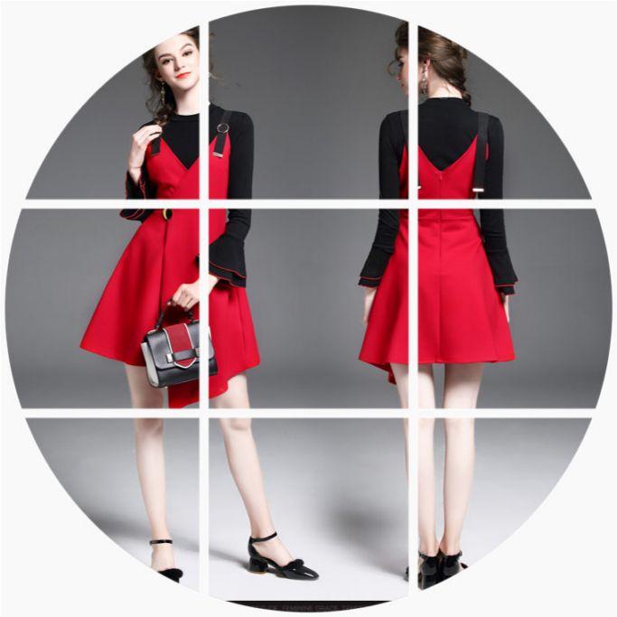 连衣裙长袖背带裙最新秋装女随意搭配裙子针织吊带套装裙两件套