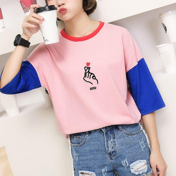 最新夏天新款原宿风手指爱心刺绣拼色短袖T恤女学生中袖