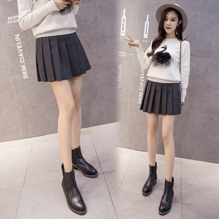 最新秋冬学院风毛呢高腰百褶裙半身裙学生呢子a字短裙女
