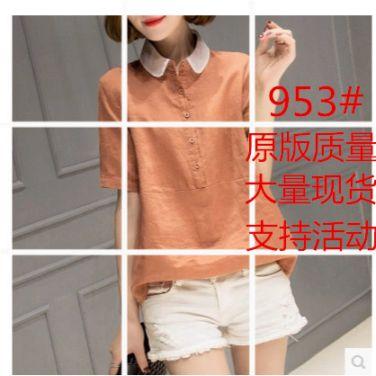 棉麻短袖衬衫女夏最新款韩式宽松随意搭配衬衣亚麻上衣简洁大码女装