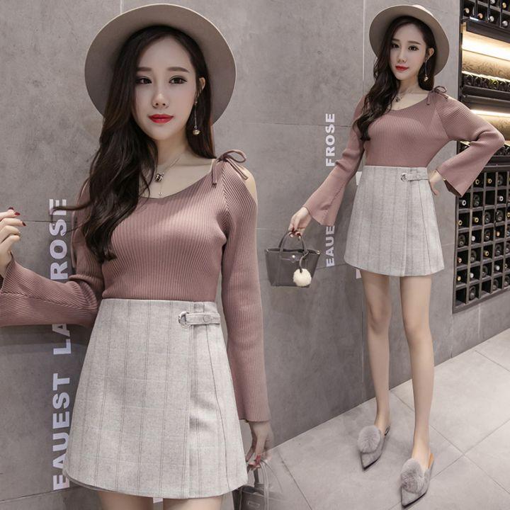 秋冬韩式流行格子半身裙高腰显瘦包臀A字裙圆环毛呢短裙