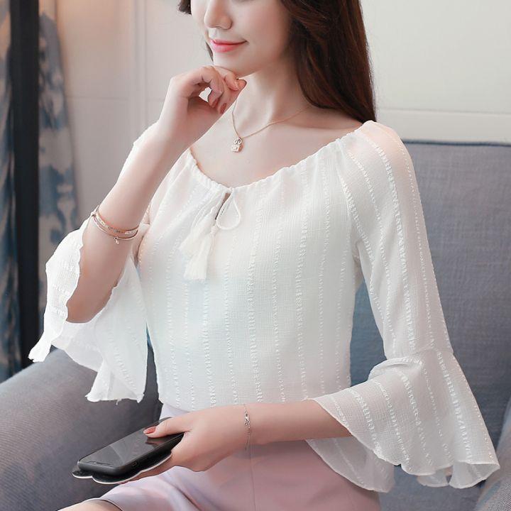 最新款韩式系带喇叭短袖雪纺衫显瘦随意搭配小衫上衣女夏潮