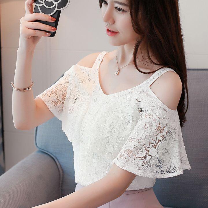 最新夏天新款韩式女装V领蝙蝠短袖蕾丝衫随意搭配露肩上衣潮