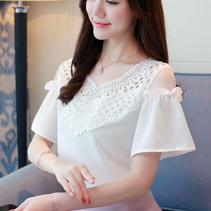 最新夏天新款女装韩式短袖露肩雪纺衫V领蕾丝衫随意搭配上衣