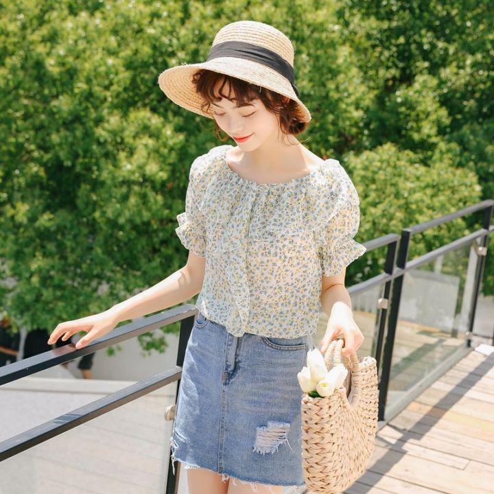 379#猫柒小姐最新夏天新款甜美小清新雪纺衫一字肩碎花小衫
