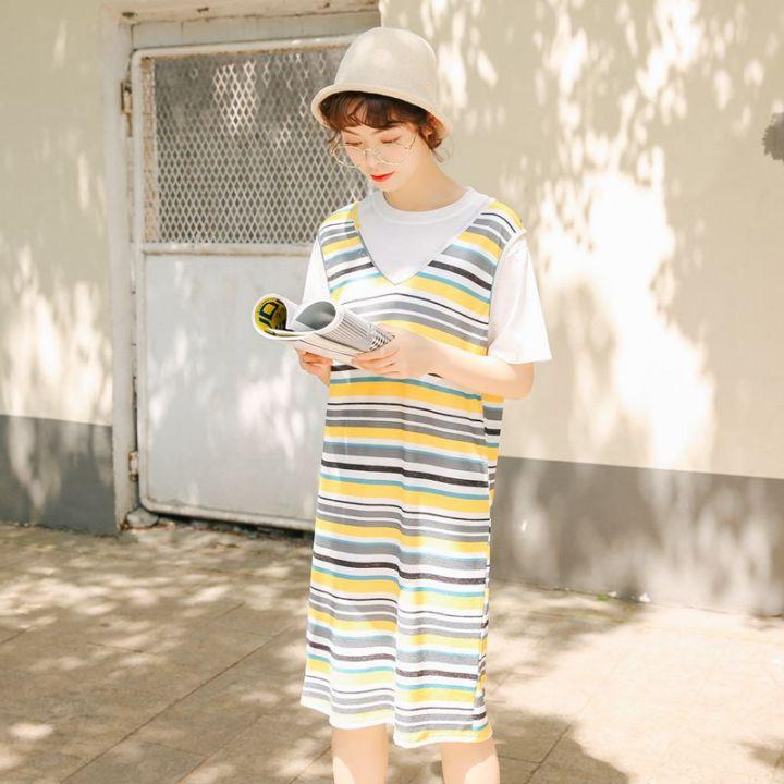 380#猫柒小姐最新夏天新款文艺小清新条纹两件套T恤