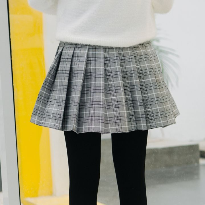 猫柒小姐最新韩系走心上新学院风高腰显瘦毛呢百褶半身裙