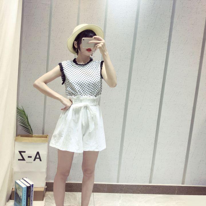 新款韩式流行简洁雪纺波点拼接蕾丝花边随意搭配显瘦上衣