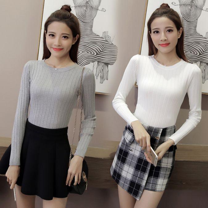 秋冬季服装新款T恤韩式针织打底衫显瘦随意搭配套头塑身长袖女上衣