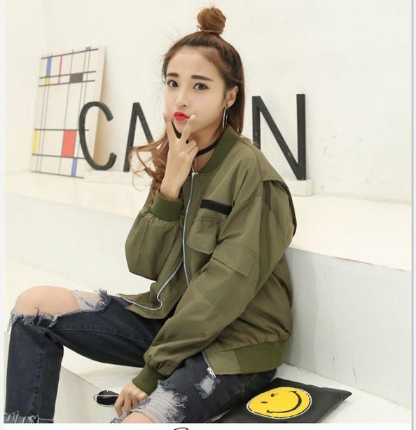 最新韩式学院风简洁大口袋休闲棒球服外套