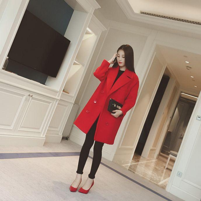 秋装韩国新款小香风V翻领长袖塑身茧型外套女