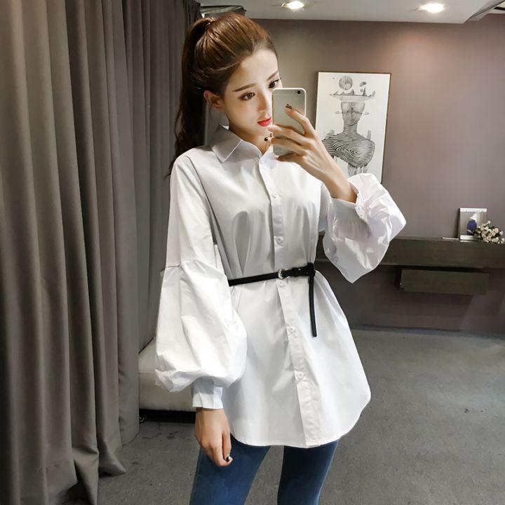 秋天新产品现货格子泡泡袖衬衣长袖韩式宽松流行潮