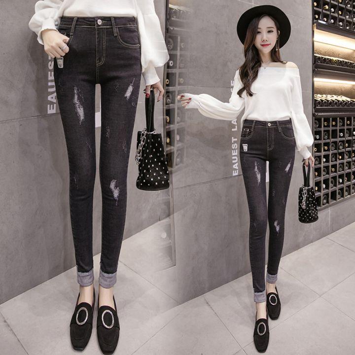 秋装牛仔裤女九分最新款韩式高腰显瘦破洞小脚铅笔