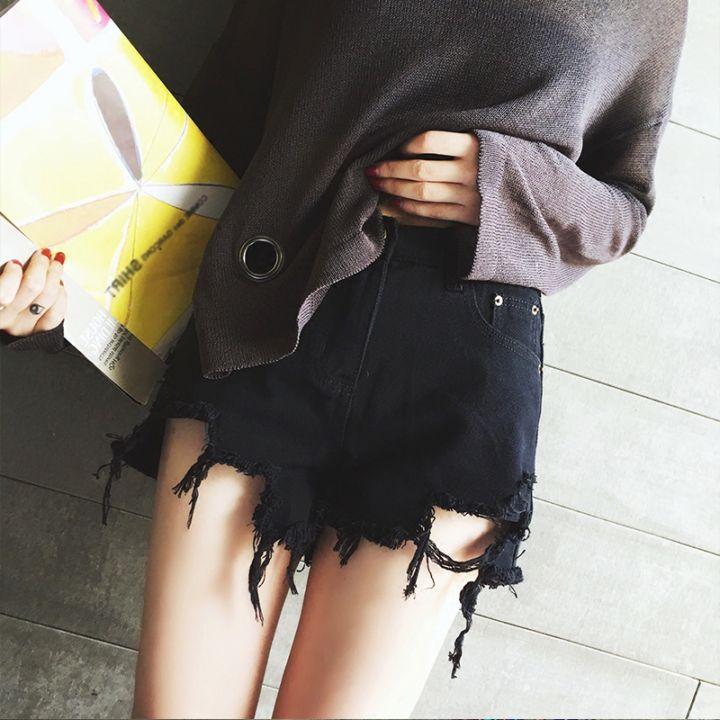 黑色超短裤女夏新款高腰不规则破洞牛仔裤子韩式宽松阔腿热裤