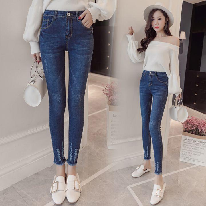 最新秋装新款女高腰九分牛仔裤女破洞黑色小脚显瘦