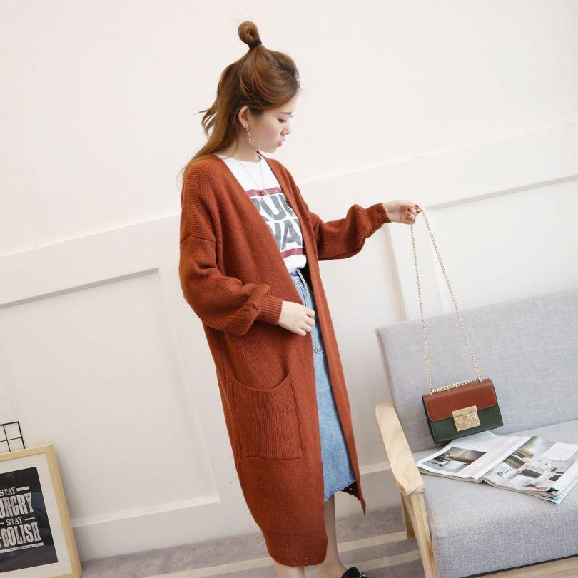 中长款破洞毛衣女外套最新款潮秋装韩式宽松流行针织开衫