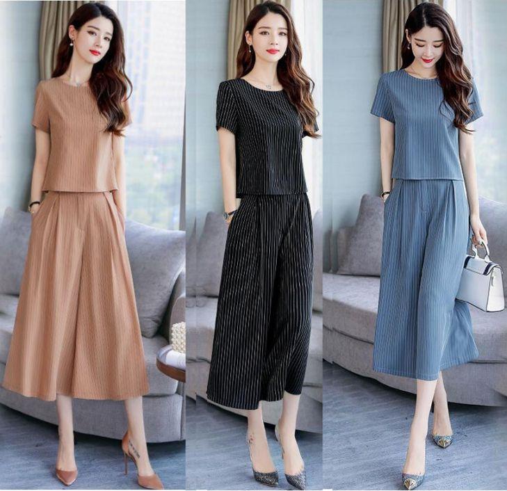 夏天阔腿裤套装女最新款女装夏季韩式显瘦bf港风流行两件套潮