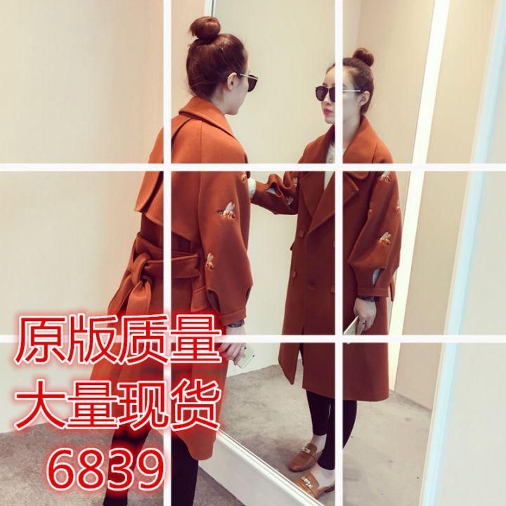 秋装女最新款韩式宽松西服领九分袖呢大衣长款过膝刺绣毛呢外套
