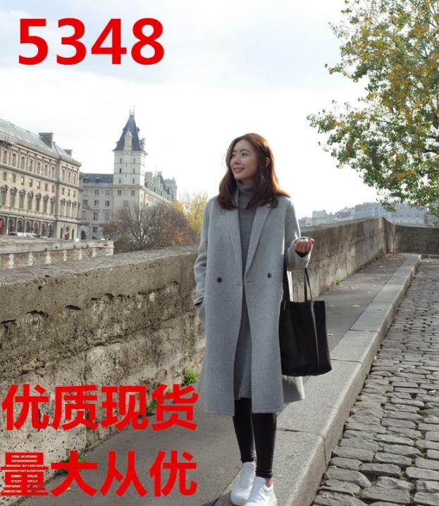 韩式大衣秋冬天女士中长款直筒羊绒毛呢风衣外